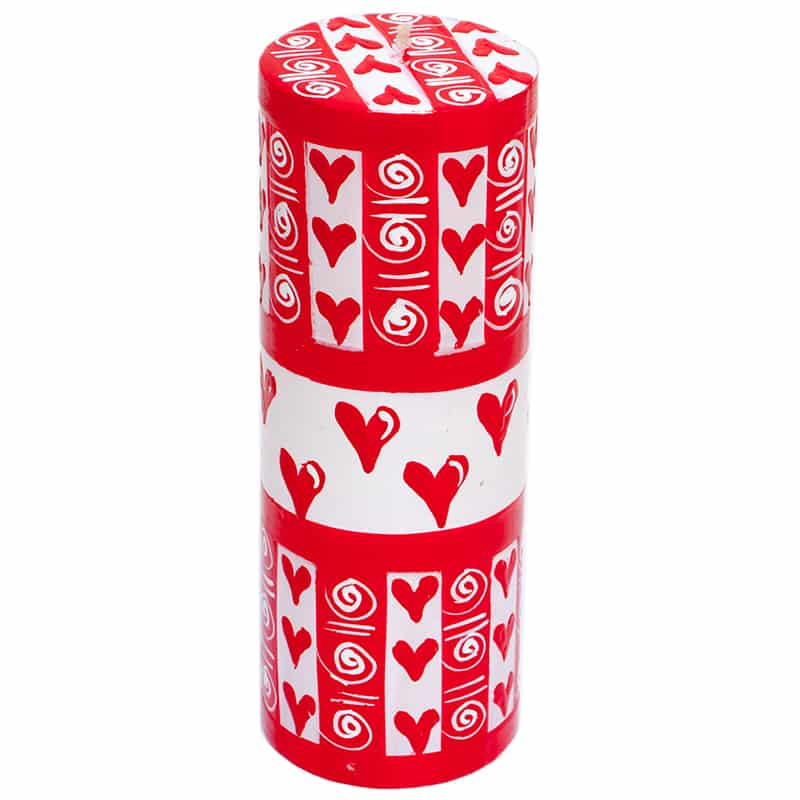 Kapula Pillar Candle ' Valentines and Love Hearts Design ' 7 x 20 cm