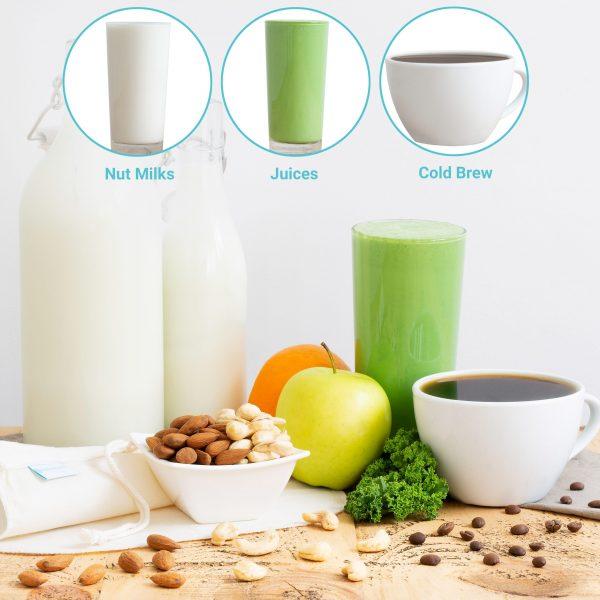 "Organic Nut Milk Bag For Straining, 100% Cotton, 10"" x 12"""